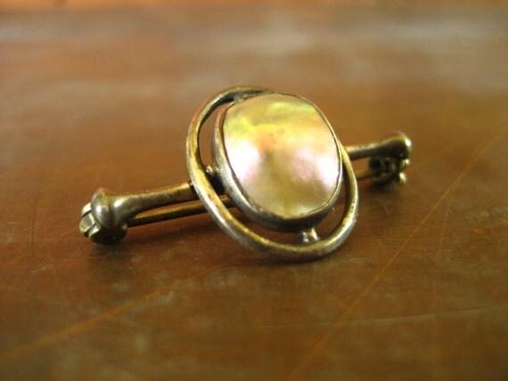 1920's sterling silver blister pearl brooch art deco