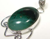 VALENTINES GIFT....NEW Emerald Green Lace Agate  925 Silver Pendant