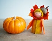 Thanksgiving Decoration Felt Doll Autumn Acorn - Miniature Red Orange Fall Leaf Table Decor