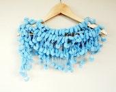 Blue Long Scarf,Turquoise Scarf,Pompom Handcrochet Neckwarmer Scarf Necktie Wrap