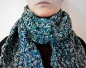 Bright Teal Blue Crochet Scarf