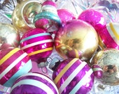 Vintage Christmas Ornaments Shiny Brite Pink and Purple Indents, Bell, Polish  Christmas Ball Lot of 12