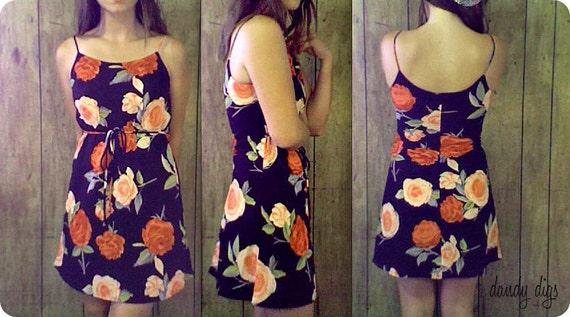 Sheer Black & Floral Roses Mini Dress