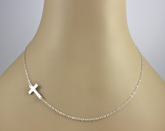 Jennifer Lopez, Sterling Silver Sideways Cross Necklace, Horizontal Celebrity Inspired Necklace