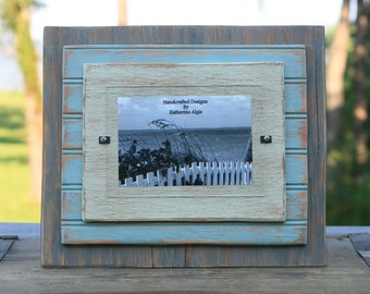 5 x 7 Distressed Handmade Picture Frame - Light Green, Turquoise & Grey