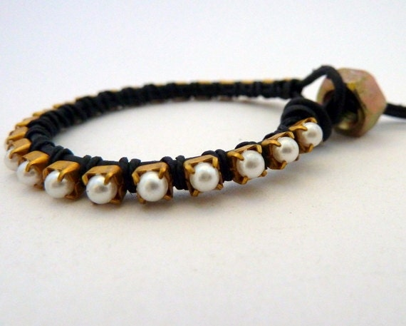Ready to Ship / Pearl friendship bracelet / black / brass / Rocker Glam Chic / Teens Tweens / Mother's Day