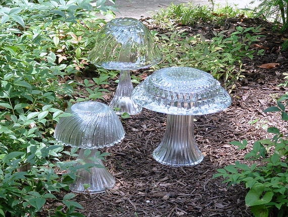 Garden art trio of mushrooms assembled art Made with