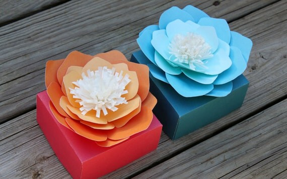 handmade origami gift box with ombre flower