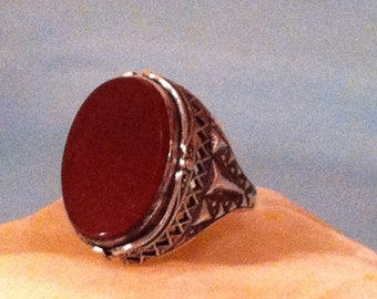 Beautiful Vintage Reversable Carnelean and blue gemstone  Ring Sterling Silver