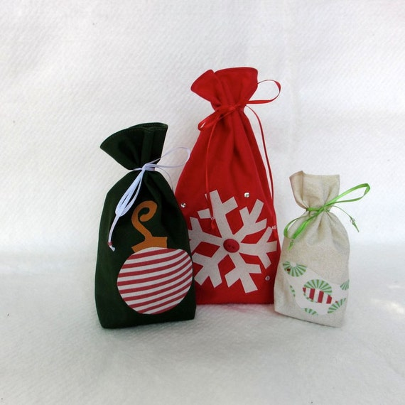 Reusable Gift Bag, Fabric Gift Bag, Christmas