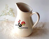 Vintage Kellogs White Pitcher - Good Morning Rooster small Ceramic Pitcher, breakfast Ivory enamel porcelain Pearl China co. 1960s
