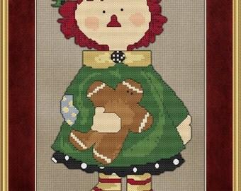 Gingerbread Annie Cross Stitch Pattern Raggedy Ann Design Primitive Old Time Style pdf