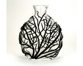 Black Sea Fan Glass Vase - Surge  /  Gift under 35, Clay, Home Decor, Ocean, Coral, Waves, Surge, Bud Vase - mkwATELIER