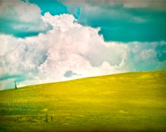 Cloudy day - Fine art Photography print. Dreamy white clouds against teal blue sky.