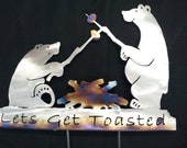 I'll toast to that Bears roasting marshmallows wall hanging