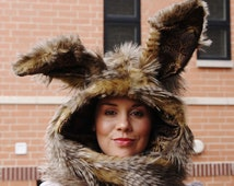 The March Hare rabbit hoodie scarf with mittens (wired ears)