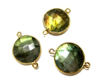 24 kt. Gold Plated 925 Sterling Silver Faceted Labradorite Connector , high Quality Flashy Labradorite Gemstone Silver Bezel links