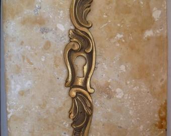 Antique Escutcheon Key Plate French Rococo Gilded Bronze Ormolu Door Hardware