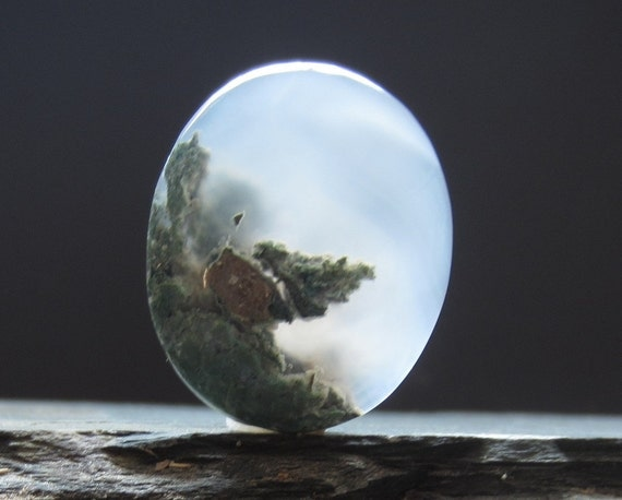 AAA Excellent Quality Oval Drop Moss Agate Cabochon, Semiprecious stone, Jewelry making supplies S1543