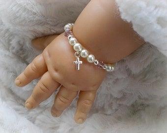 Christening Baptism Bracelet-Baby Gifts-Baby Bracelets-Newborn Jewelry-Gift for Godchild-Infant Jewelry