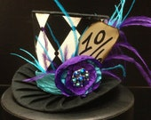 Purple and Teal Mad Hatter Mini Top Hat. Great for Birthday Parties, Tea Parties, Photo Prop, Girls Night Out and Much More...