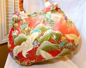 Japanese Fabric Bag Large Purse Bamboo Handle Tote Bag Japanese Kimono Cotton Floral fabric Chrysanthemum Iris Crane Red Beige In Stock