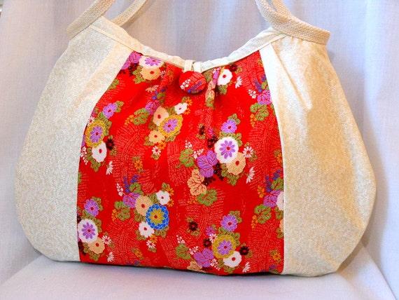 Japanese Fabric Bag Kimono Bag Floral Purse Hobo Bag Medium Handbag Authentic Japanese Kimono fabric Red Chrysanthemums Beige In Stock