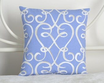12x12 Kaufmann Blue and White Cursive Heart Pillow Cover - READY TO SHIP