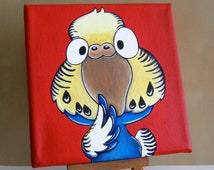 Original Blue & Yellow Budie Painting, Acrylics on stretched canvas, Parakeet, Bird cartoon