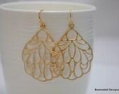 006- Gold abstract mosaic teardrop earrings
