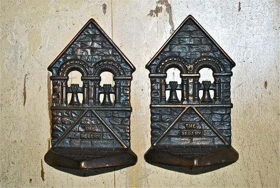 The Belfry Bookends 1928 Connecticut Foundry Cast Iron