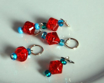Sock Stitch Markers Red Sparkles with Blue Accents