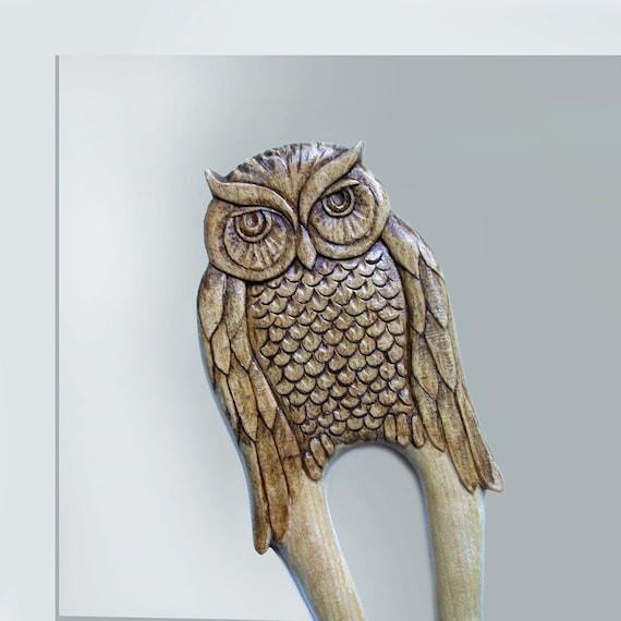 Wooden Hair Fork, Sticks, Maple wood, Hairpin, Hair Clips, Hair Comb, Owl, MariyaArts