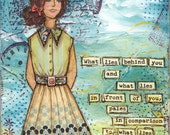 """Ralph Waldo Emerson motivational quote 5x7"""" Art Print from Mixed Media collage - What Lies Inside You - she, girl, woman"""