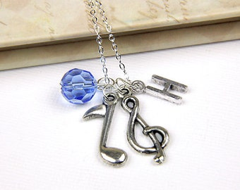 Personalized Music Necklace with Your Initial and Birthstone Perfect for the Music Lover in Your Life