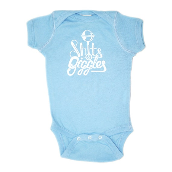 Organic Baby Boy Onesie - Blue Shits and Giggles