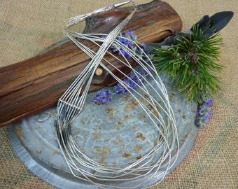 VINTAGE LIQUID SILVER sterling chevron design Native American multi strand necklace