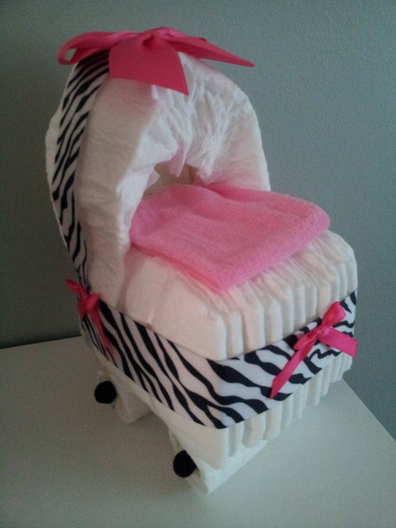 Zebra with hot pink diaper bassinet baby shower decoration for Animal print baby shower decoration ideas