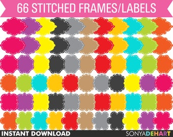 Clipart Digital Frames 66 Cute Stitched Vector Digital Labels