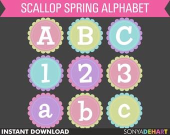 80% OFF Sale Clipart Alphabet Pastel Scalloped Circles Scrapbooking Letters