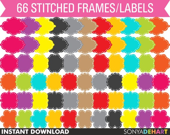 80% OFF SALE Clipart Digital Frames 66 Cute Stitched Vector Digital Labels