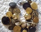 Vintage Charm Bracelet Vintage Buttons Black Gold