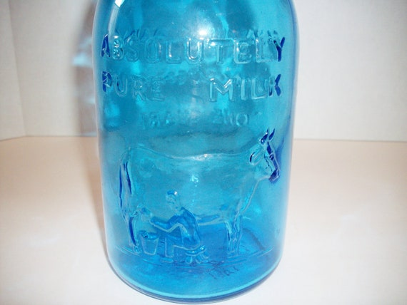 Vintage Blue Bottle Thatcher's Dairy Crownford China Company 1965