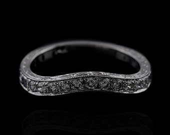 Diamond Wedding Ring, Engraved Curved Wedding Band, Contour Women's Wedding Ring, Vintage Style Diamond Wedding Ring, 2.7mm White Gold Band