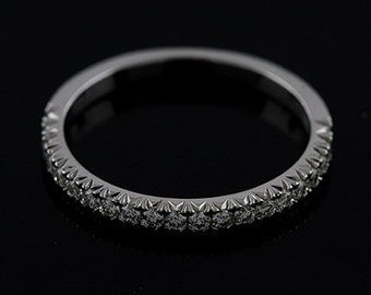 Diamond Cut Down Micropave Half Way Platinum 950 Wedding Band 2mm Wide