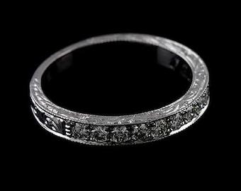 Diamond Wedding Ring, Engraved Wedding Band, Antique Style Wedding Ring, Milgrain Carved Wedding Band, Women's Platinum Wedding Ring 2.9mm