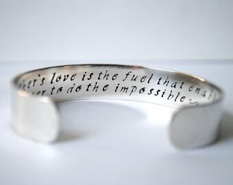 Keepsake Sterling Silver Mother of the Bride or Groom Custom Hand Stamped Cuff Bracelet. Secret Message