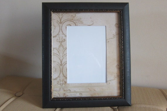 8x10 Photo Matte, 5x7 Photo Frame and Ribbon Embellishment, Wall Decor with Gold Scroll Print