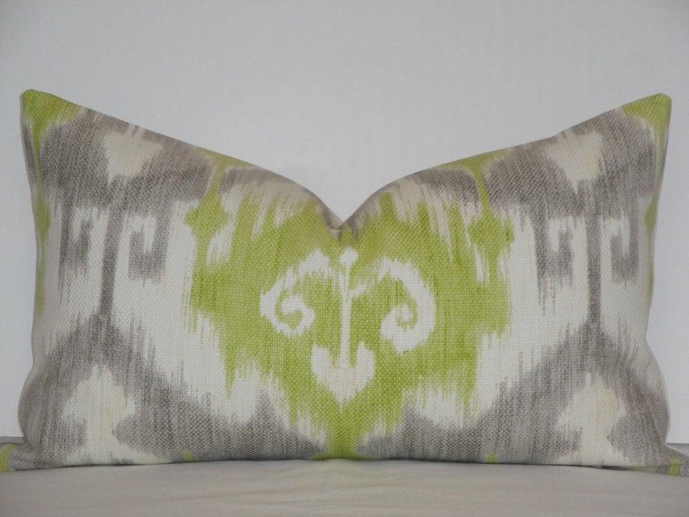 Celery Green Throw Pillow : Decorative Pillow Cover / Grey / Celery Green / Ikat / Lumbar