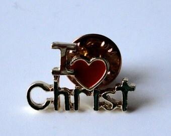 Vintage Christian Lapel Pin  I Heart (Love) Christ